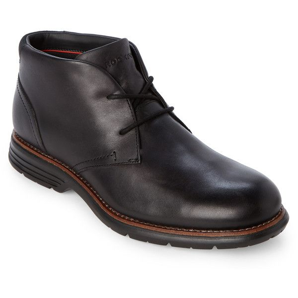 Rockport Black Leather Chukka Boots ($75) ❤ liked on Polyvore featuring men's fashion, men's shoes, men's boots, black, mens black chukka boots, rockport men's boots, mens leather boots, mens round toe cowboy boots and mens faux leather boots