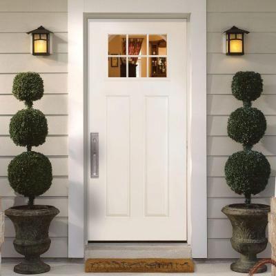 Masonite 36 in x 80 in craftsman 6 lite primed smooth for Home depot craftsman door