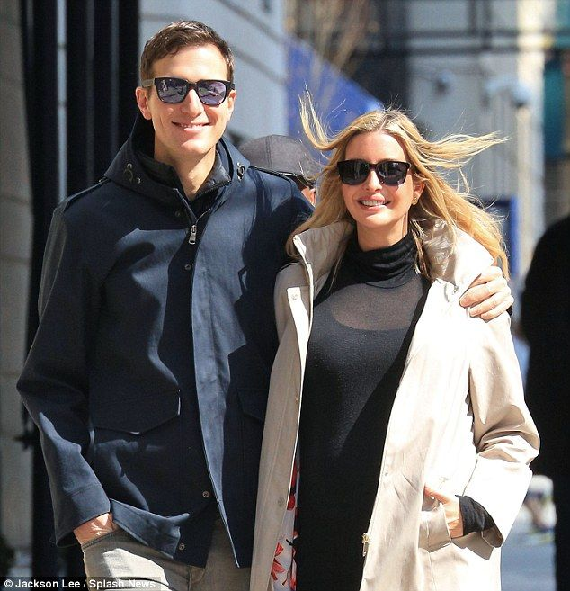 Third time's a charm: Theodore James Kushner is Donald Trump's daughter's third child with her husband Jared Kushner, 35. They are pictured on Sunday morning on their way to Easter breakfast