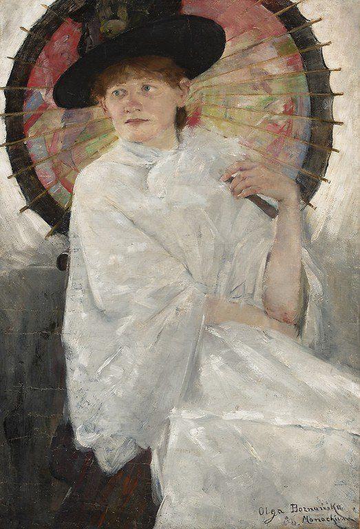Olga Boznańska - Portret młodej kobiety z czerwoną parasolką
