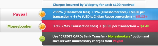You can use Credit Card / Bank Transfer - Moneybookers / Paypal to payment for web services from Webgrity