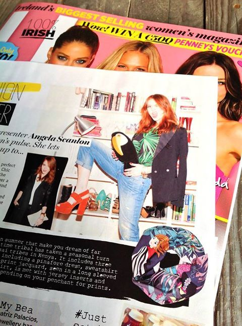 Photo: Oi Ginger, spot the similarities! Delighted to see that super stylist Angela Scanlon has chosen a Kiyoni scarf to feature on her U Magazine page | images by www.PRoSHOTS.ie
