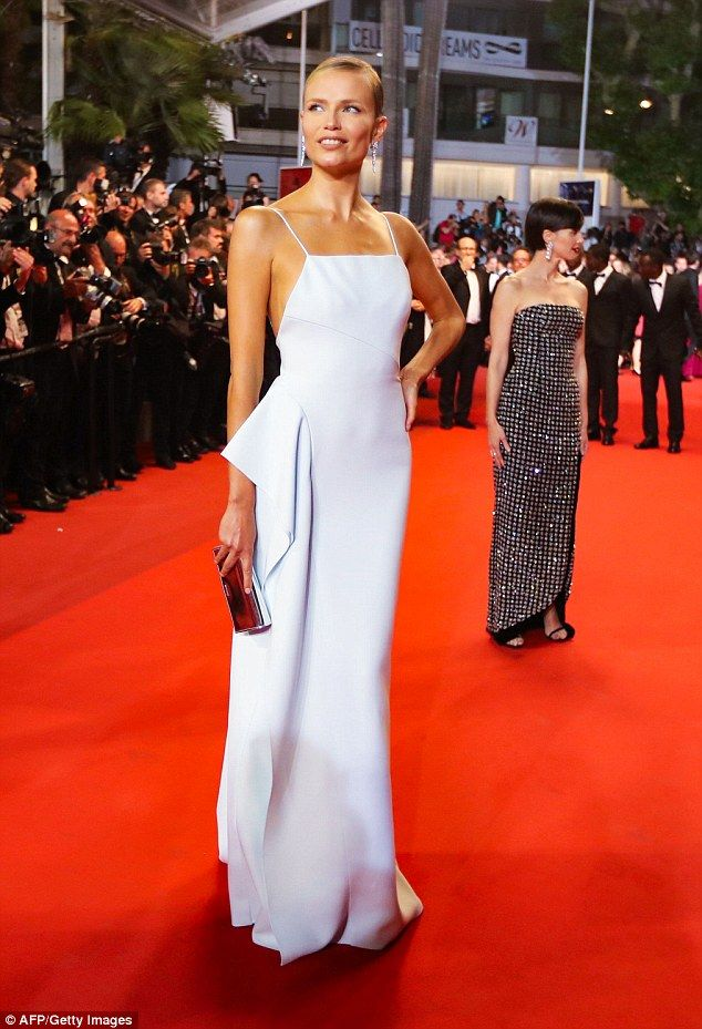 Stunning: Russian model Natasha Poly, 31, stunned in a white floor length gown at the In The Fade premiere at the 70th Annual Cannes Film Festival on Friday