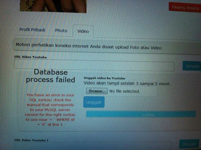 Error saat upload video