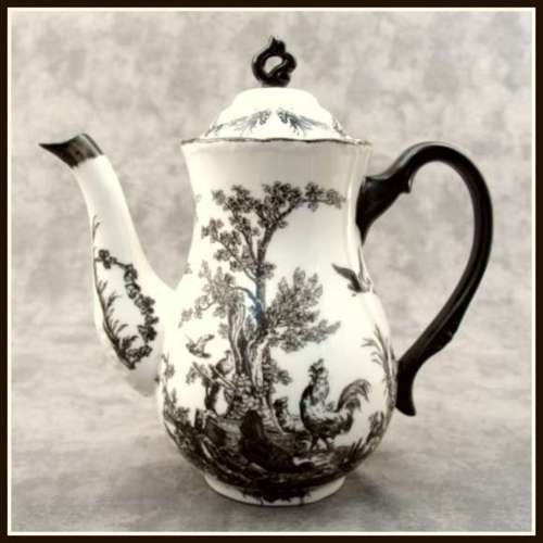 black and white teapot -- love this very dramatic toile
