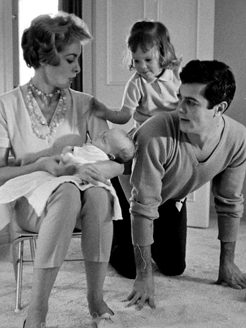 The Curtis family photographed by Allan Grant. Tony Curtis, Janet Leigh, Jamie Lee Curtis, Kelly Curtis.