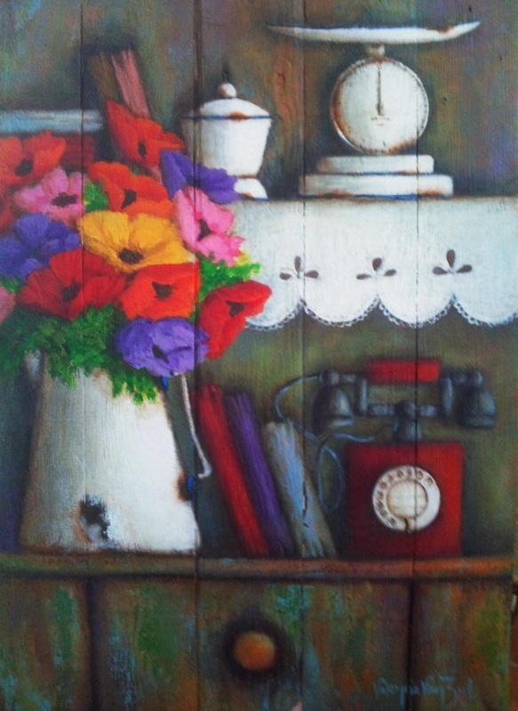 Poppies and red old phone - on wood -          artist - Valencia Van Zyl