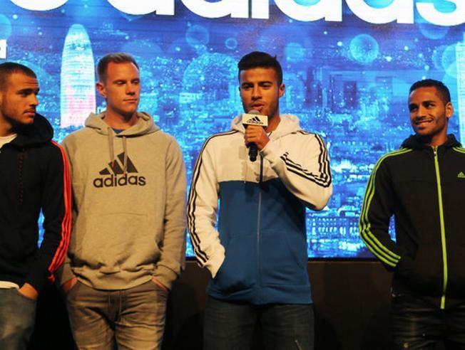 17. 12. 2014 - FC Barcelona players Sandro Ramirez, Marc-Andre ter Stegen, Rafinha Alcantara and Douglas attend Adidas event.