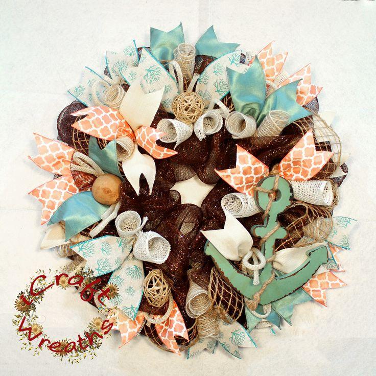 Anchor Mesh Wreath, Mesh Wreath, Summer Mesh Wreath, Beach Mesh Wreath, Welcome Door Wreath, Brown Mesh Wreath, Nautical Wreath by iCraftWreaths on Etsy