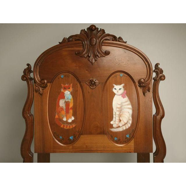 Image of c.1880 American Victorian Folk Art Bed w/ Hand-Painted Cats
