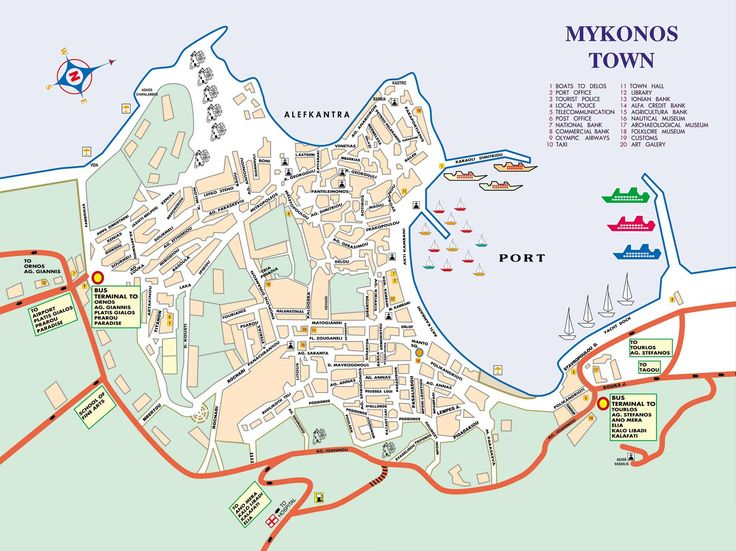 Mykonos Town Map - Mykonos Greece • mappery