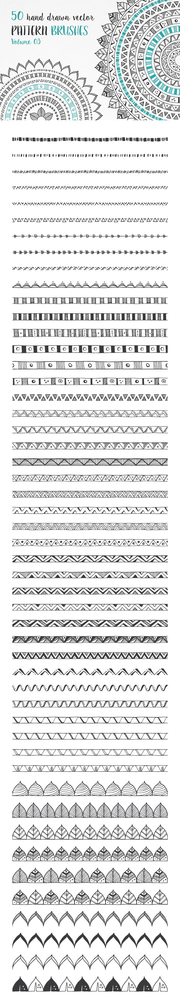 Hand Drawn Pattern Brushes Vol. 03 by DESIGN BY nube #patterns #brushes #vector #boho #tribal #geometric #handdrawn #frames #borders #designelements