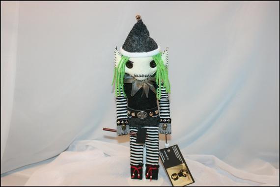 OOAK Hand Stitched Clown Rag Doll Creepy Gothic Folk Art By Jodi Cain Tattered Rags