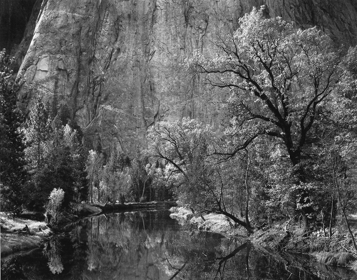 Ansel Adams. Merced River, Cliffs of Cathedral Rocks, Autumn