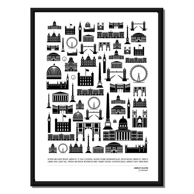 Inreda.com - London Buildings, London Collection, Poster eller Canvastavla, I Love Design