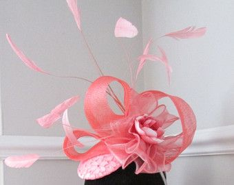 Coral Pink Fascinator - Racing Hat - Wedding hat - Ascot - Ladies Day Hat - Edit Listing - Etsy