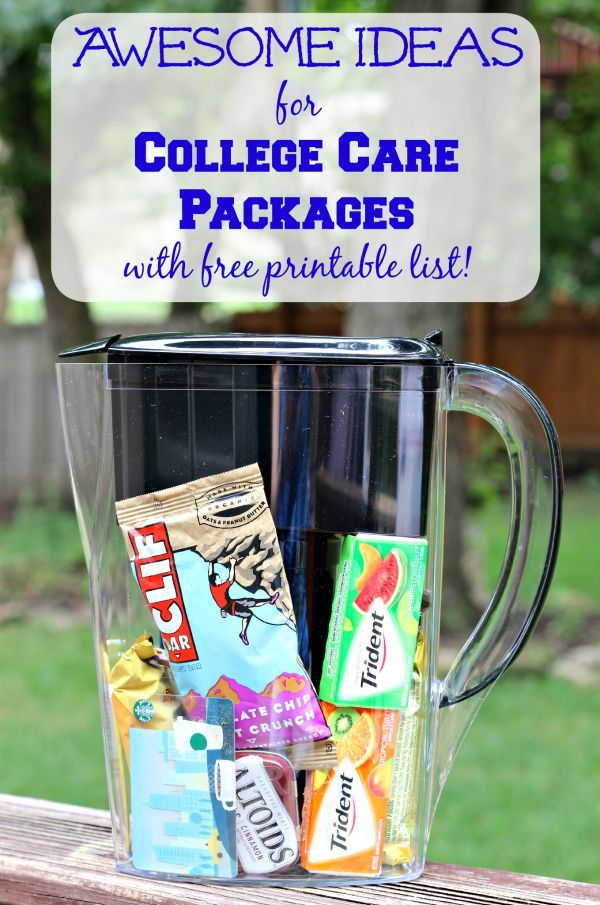 Super ideas for what to pack & how to mail a college care package! + Post includes a FREE printable list too! AD  #BritaBackToCollege
