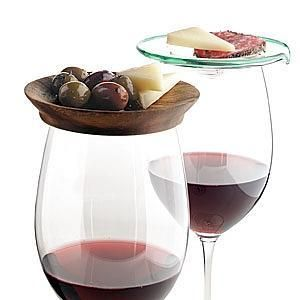 Wine glass tapas - what a cute idea for a party where people are standing, holding their wine glass, and trying to eat at the same time!
