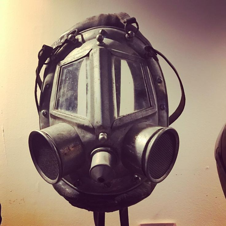 19th c. Smoke mask. Early protective gear for firemen. #smokemask #firefighting #antiqueindustrial # - earlyelectrics