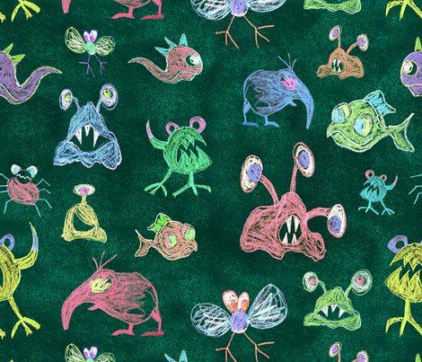 Fiaba_Crayon_Monsters fabric by fiaba_fabrics on Spoonflower - custom fabric
