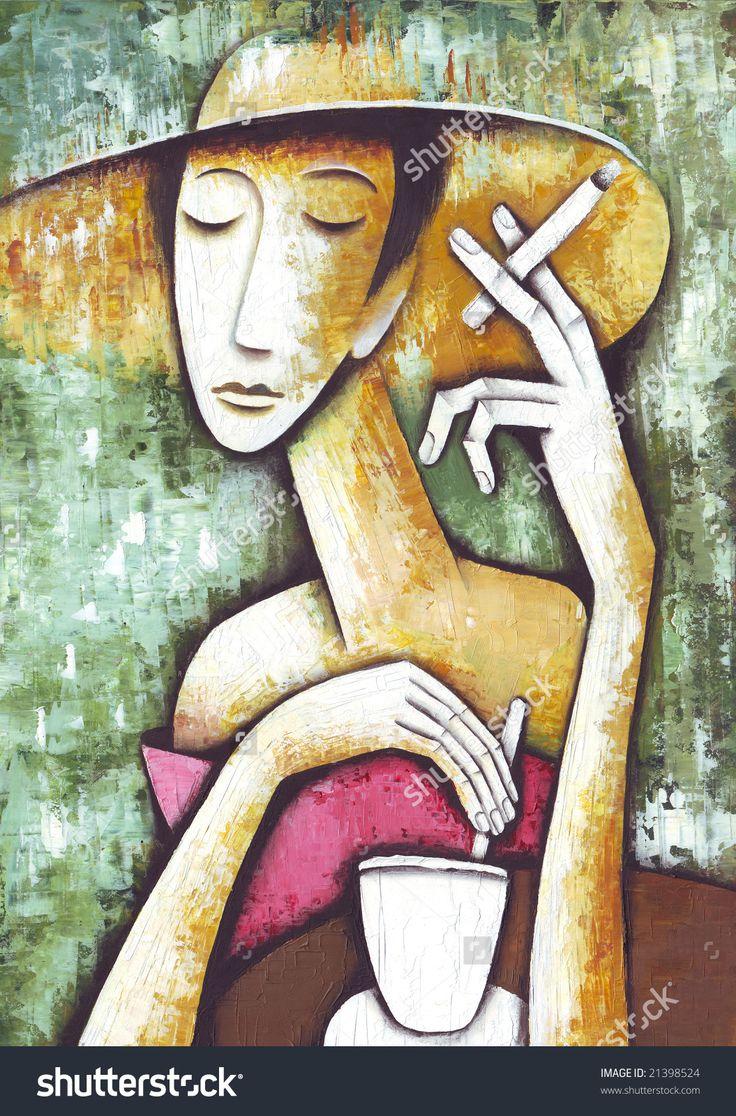 Lady In Cafe by Eugene Ivanov. #eugeneivanov #elegant #woman #portrait #lady #painting #art #nude #cubism #girl #female #femina #@eugene_1_ivanov