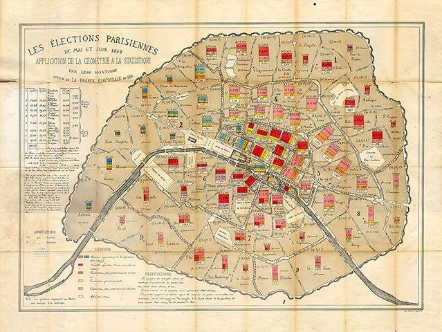Maps Paris Voting Map 1869 Leon Montigny 1869 Paris Electoral