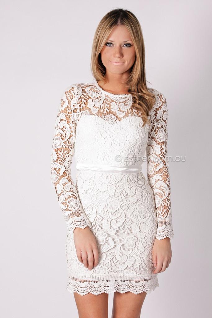 White Lace Rehearsal Dinner Dress Fashion Dresses
