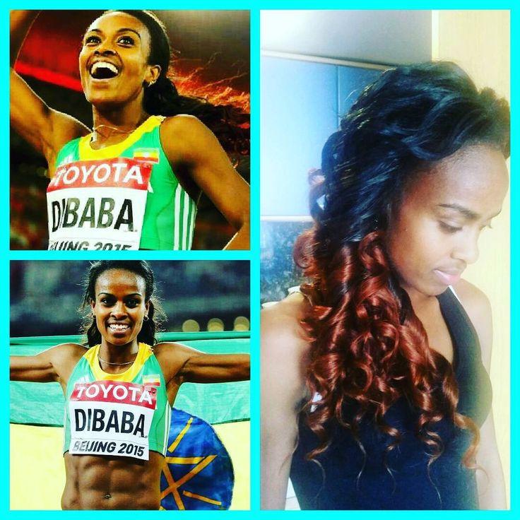 My loyal client - Genzebe DIBABA   Wishing her all the best tomorrow! @genzabe_dibaba_keneni  #rio2016 #1500m #athlete #olympics #olympics2016 #athletic #ethiopianathletes #dibabasisters #dibaba #traveller #mobilehairdresser #stylist #leavoutsewin #wandcurls #haironfleek #ilovemyjob  #beenonabreak #loyalclient