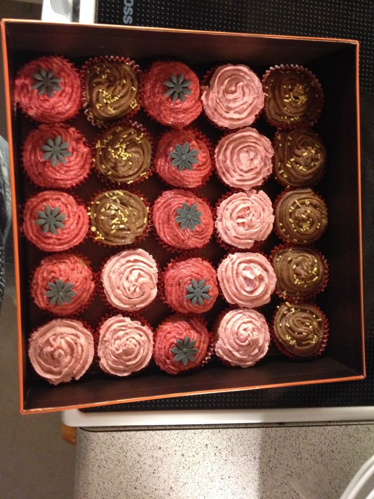 Cupcakes for work. 3 different flavors. star anise, coffee- chocolate, raspberry