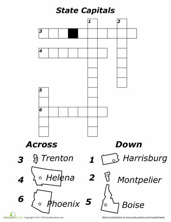 States and Capitals Crossword Puzzle | School worksheets ...