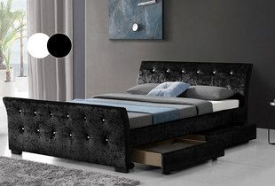 £179 instead of £880 (from Limitless Base) for a double Madrid crushed velvet storage bed, £199 for a king size - choose from black and silver and save up to 80%