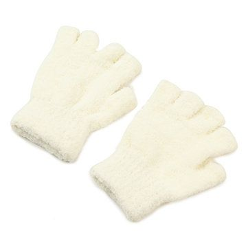 Women Girl Soft Coral Fleece Gloves Fingerless Pure Color Short Mittens at Banggood