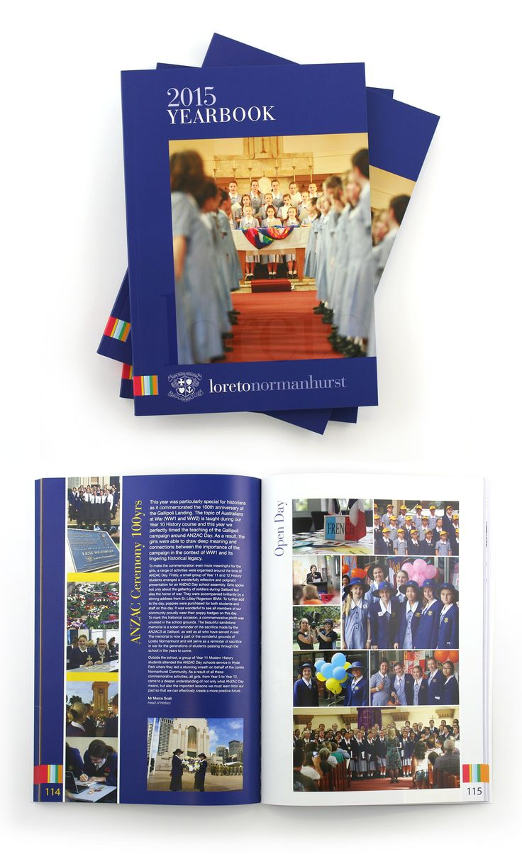 Loreto Normanhurst Yearbook – layout and print production – clear varnish on cover