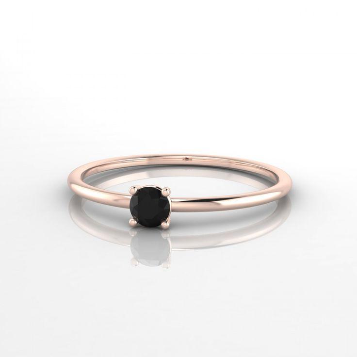 Blanche Bague Diamant noir en Or rose 18k
