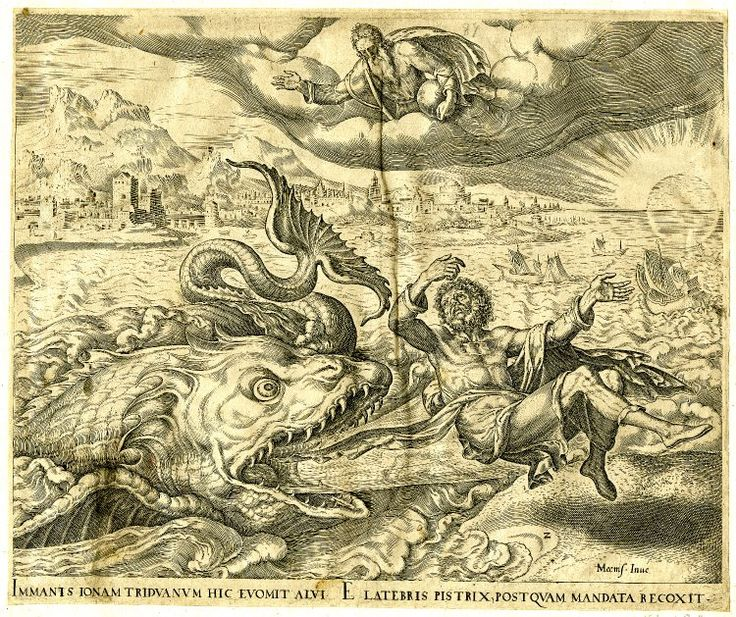 Print made by Philips Galle After Maarten van Heemskerck 1566 Jonah cast on shore by the whale; a monstrous fish regurgitates Jonah on to dry land overseen by the Lord above; after Heemskerck. 1566