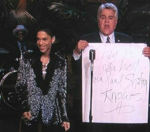 Image result for prince draws jay leno a note on stage
