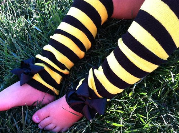 BUMBLEBEE LEG WARMERS - Bumblebee Halloween Costume - Baby Leg Warmers - Bumblebee Birthday party - Baby Shower - Fits girls 0-8
