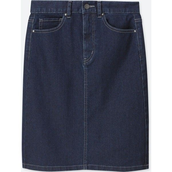 UNIQLO Women's High-waist Denim Skirt ($30) ❤ liked on Polyvore featuring skirts, navy, navy knee length skirt, high waisted denim skirt, high rise denim skirt, navy high waisted skirt and high waist skirt