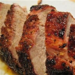 Pepper Jelly Pork - Pork loin rubbed in a mixture of chili powder, S & P, cumin.  Bake.  Mix hot pepper jelly with balsamic vinegar on the stove then brush on the pork.  Bake another 5- 10 mins.