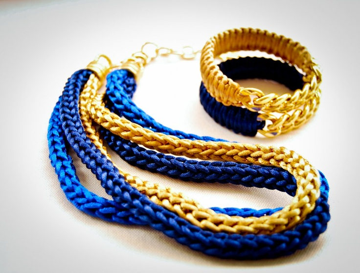 Handmade necklace with blue and gold satin cord!
