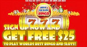 Best Online Bingo Site : $25 free on sign up to try our bingo games. 600% cash match on 1st deposit | breakthebank