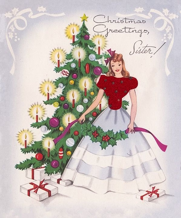 198 best christmas cards images on pinterest christmas cards vintage greeting card candlelit christmas tree girl lady cloth sweater aw m4hsunfo