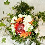 Cream Orange and Red Autumnal Brides Flower Bouquet