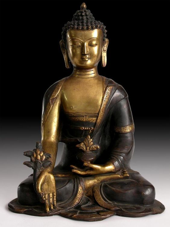 Antique Gilded Bronze Buddha Statue Medicine Buddha Bhaisajyaguru Origin: Nepal, Circa: early 1900s':