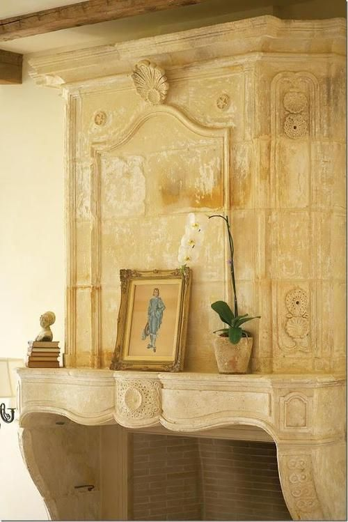 loooove the old fireplace mantles