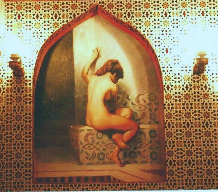Pittura su muro.Autore O Suprunovskij.Un hamamm a Mosca