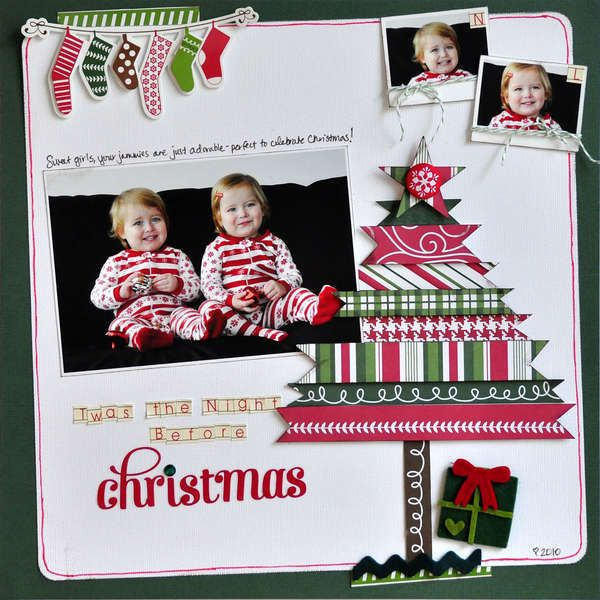 christmas scrapbook idea, good use of scrap paper for the tree