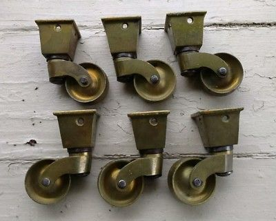 Antique-Vintage-Solid-Brass-Furniture-Casters-Brass-Wheels-Lot-of-6