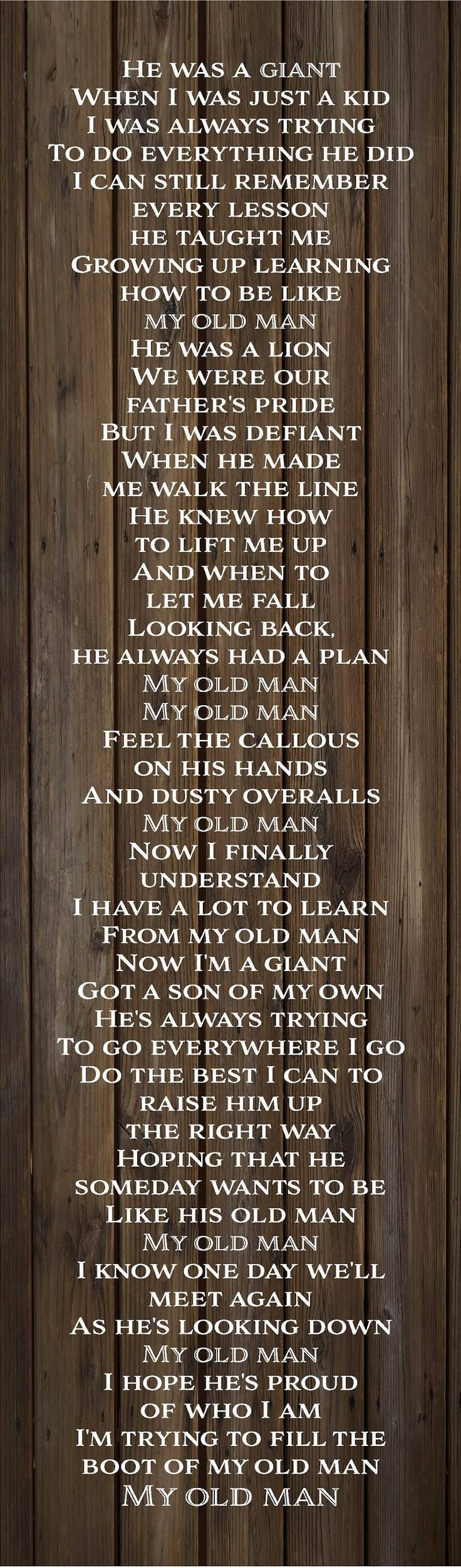 Father's Day Gift - My Old Man Lyrics Zac Brown Band Wood Sign, Canvas Wall Art - Christmas, Sympathy by HeartlandSigns on Etsy