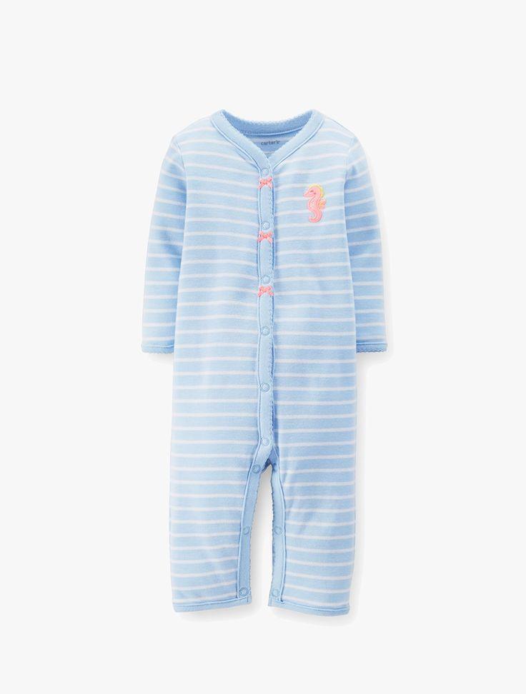 Carter's: Blue Seahorse Romper Baby Girl
